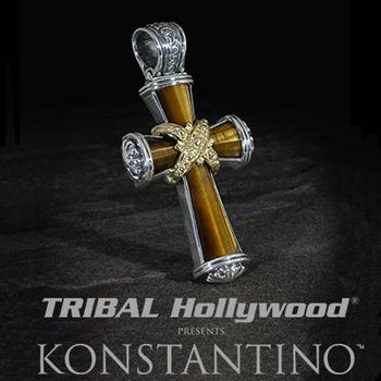 Konstantino Tiger Eye Sunrise Greek Cross Mens Necklace