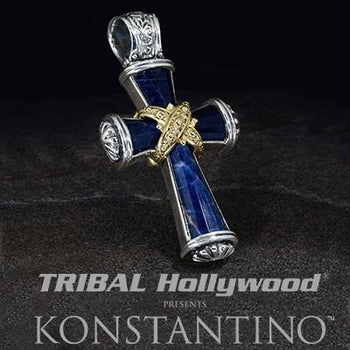 Konstantino Blue Greek Sunrise Cross Silver Gold Necklace