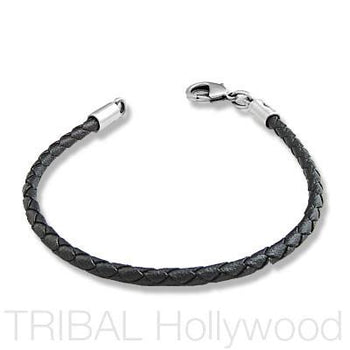 BLACK BRAIDED FAUX LEATHER BRACELET Thick Width