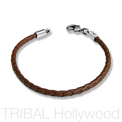 BROWN BRAIDED FAUX LEATHER BRACELET Thick Width