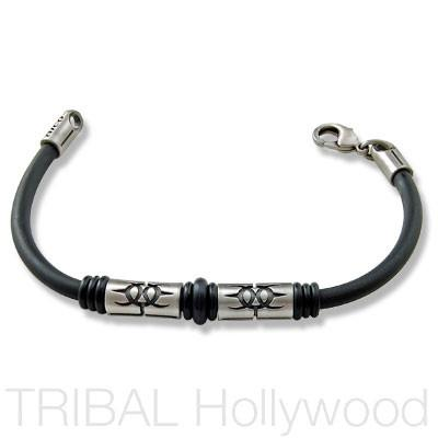 EARTHDIVERS Beaded Black Rubber Bracelet