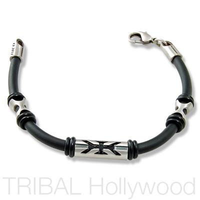 ANGELCATCHER Beaded Black Rubber Bracelet