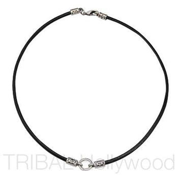 BLACK LEATHER NECKLACE with Silver Tribal Metalwork
