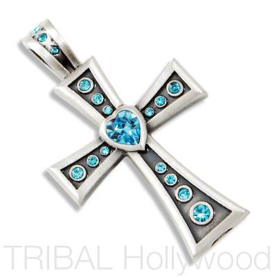 CORAZON CROSS PENDANT with Heart and Swarovski Crystals