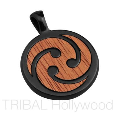 A TRE Pendant in Rosewood and Gunmetal