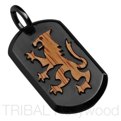 Bico Lionheart Royal Lion Gunmetal and Rosewood Mens Dog Tag