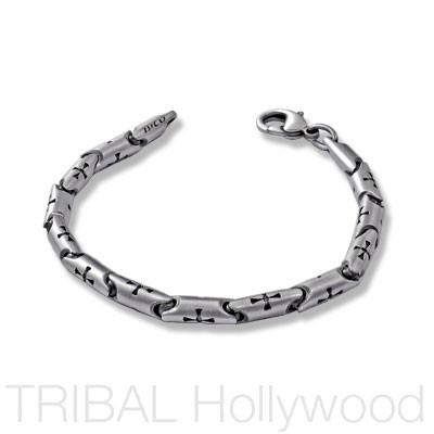 Mens Bracelet with Cross Links