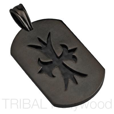 COURAGEOUS CROSS CARBON FIBER BLACK DOG TAG Pendant in Gunmetal