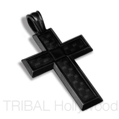 Black metal mens necklaces tribal hollywood page 2 tech black cross in carbon fiber gunmetal aloadofball Image collections