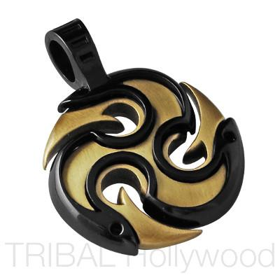 DIABLO TRIPLE YANG Fire Pendant in Gunmetal and Brass | Tribal Hollywood