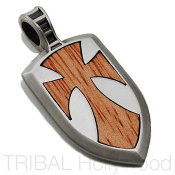 Galahad Shield Cross Dog Tag Pendant in Silver
