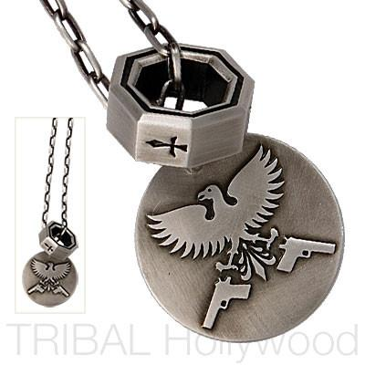 EAGLE GUARDIAN Cross Ring and Eagle Medallion Silver Chain Set
