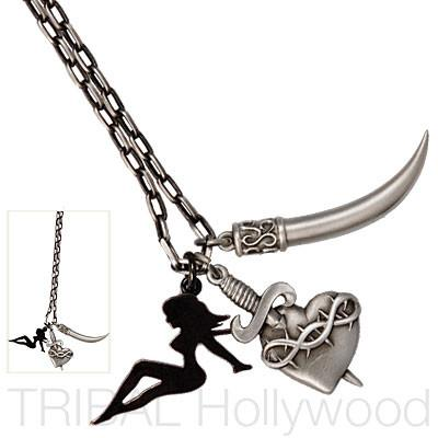 MOJAVE Sword Heart Pin Up Girl Silver Chain Set | Tribal Hollywood