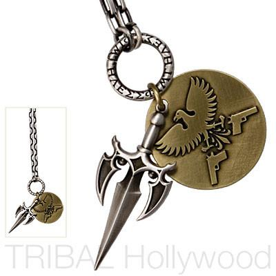 EAGLE FREEDOM FIGHTER Dagger and Eagle Medallion Silver Chain Set