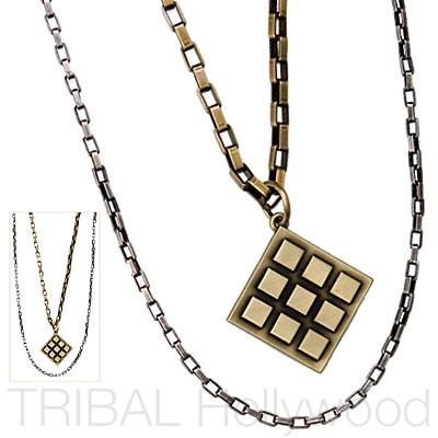 THE DIAMOND IN THE ROUGH Modern Silver and Brass Double Chains Set