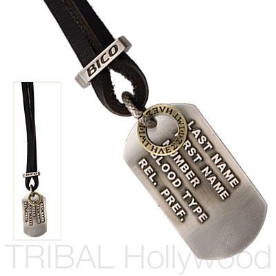 UNKNOWN HERO Dog Tag Leather Necklace Set | Tribal Hollywood