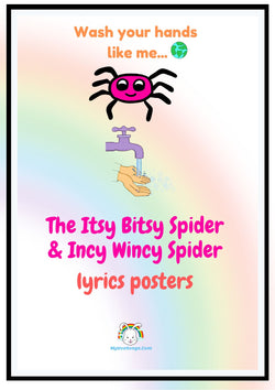 FREE Wash Hands Lyrics Poster for Kids  | The Itsy Bitsy Spider / Incy Wincy Spider