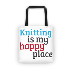 Knitting is My Happy Place, Funny Knitting Tote Bag