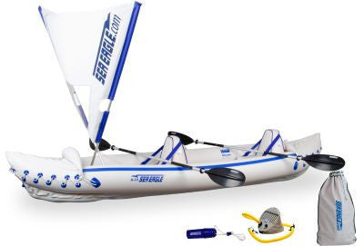Sea Eagle 370 Inflatable 12ft 6in Kayak Incl QuikSail Paddles Seats and Pump - Camp Champs Club