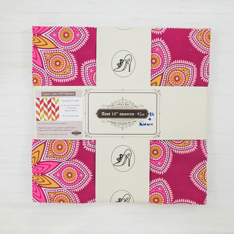 "Cindy-rella's Asst. Designer 10"" Squares - HST Quilt Kit - Pink and Yellow Herringbone"