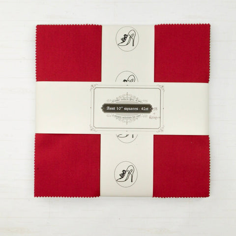 "Cindy-rella's Asst. Designer 10"" Squares - HST Quilt Kit - Red, White, and Grey"