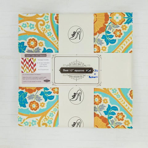 "Cindy-rella's Asst. Designer 10"" Squares - HST Quilt Kit - Blue and Yellow Herringbone"
