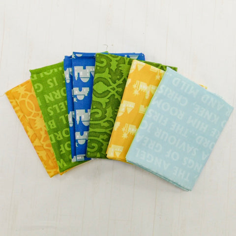 Precut Stash 6 Fat Quarter Bundle - Christmas - Yellow, Green and Blue