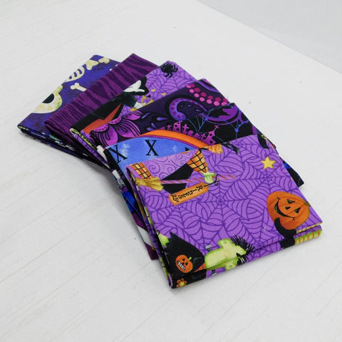 Precut Stash 6 Fat Quarter Bundle - Halloween - Purple and Orange
