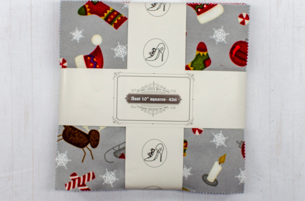 "Cindy-rella's Asst. Designer 10"" Squares - Flannel Layer Cake - Christmas - It's the most wonderful time - Maywood Studios"