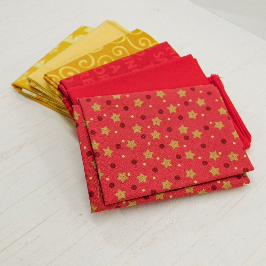 Precut Stash 6 Fat Quarter Bundle - Christmas - Red and Yellow