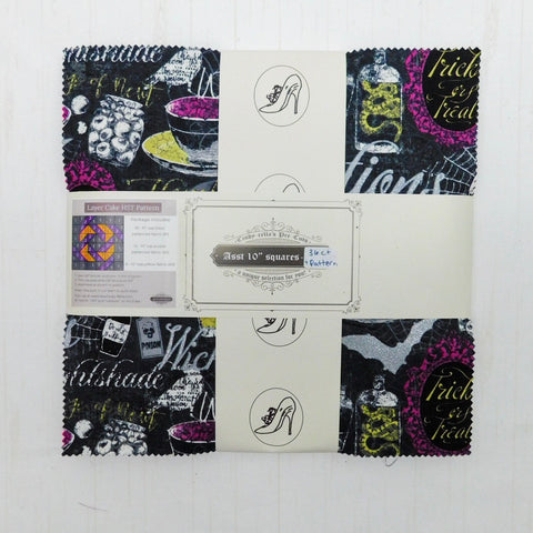 "Cindy-rella's Asst. Designer 10"" Squares - HST Quilt Kit - Purple, Black, and Yellow Halloween Quilt"