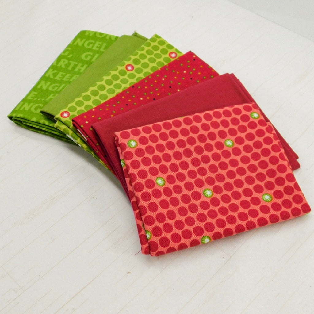 Precut Stash 6 Fat Quarter Bundle - Christmas - Red and Green