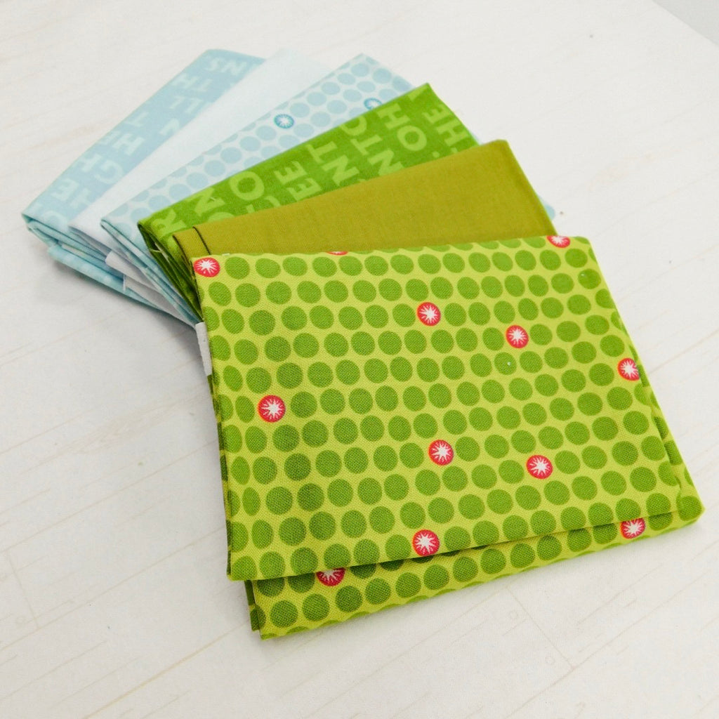 Precut Stash 6 Fat Quarter Bundle - Christmas - Green and Blue