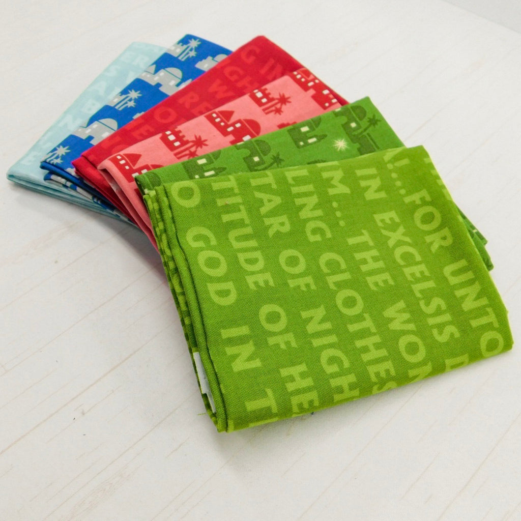 Precut Stash 6 Fat Quarter Bundle - Christmas - Red, Green and Blue