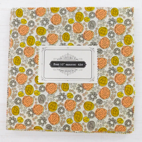 "Cindy-rella's Asst. Designer 10"" Squares - Yellow and Coral"