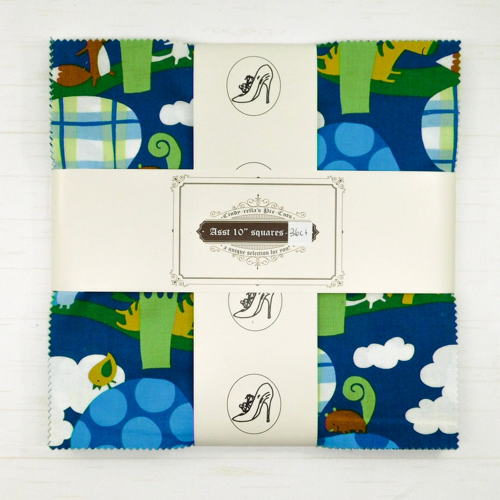 "Cindy-rella's Asst. Designer 10"" Squares - Layer Cake HST Quilt Kit - Blue and Green"