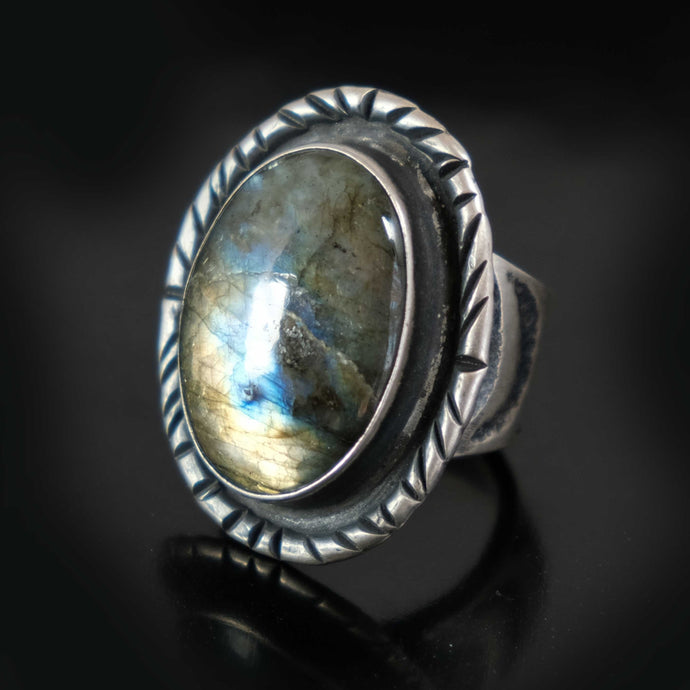 Large Labradorite Ring Native American Sand Cast Silver