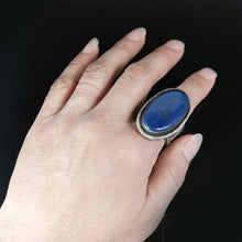 Sterling Silver Navajo Sand Cast Large Lapis Ring