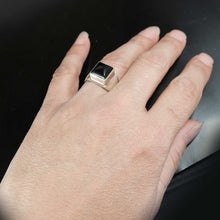 Womens Silver Onyx Ring