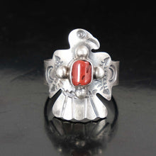 Mens Sterling Silver Native American Thunderbird Coral Ring