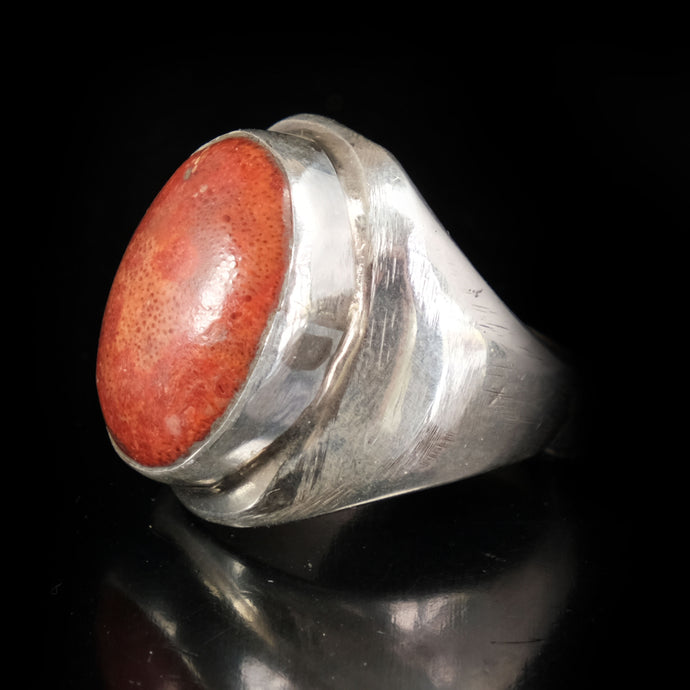 Mens Red Coral Ring