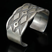 Navajo Decorative Deep Stamped Silver Cuff Bracelet by J.Tahe
