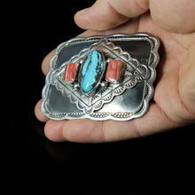 Turquoise Spiny Oyster Sterling Belt Buckle