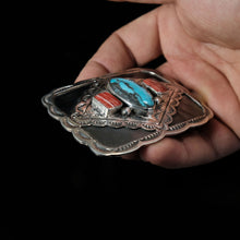 Turquoise Spiny Oyster Sterling Silver Belt Buckle
