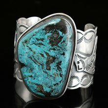 Turquoise Cuff bracelet Native American Heavy Silver Large Mens Navajo Bear