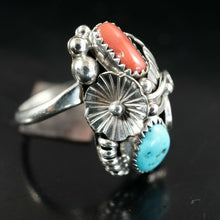 Turquoise Coral Navajo Ring