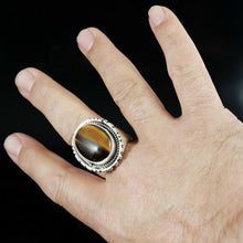 Tigers Eye Ring Vintage Style Silver Native American Jewelry Navajo Large Mens