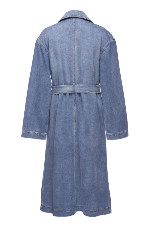 Robert Rodriguez Studio Denim Trench Coat. Spring 2017 Collection. Medium Distressed Wash.