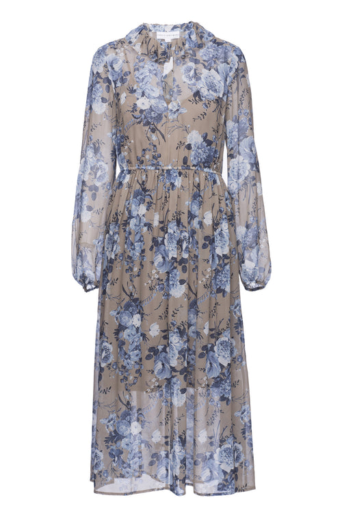 Robert Rodriguez Studio Floral Bouquet Ruffle Collar Dress. Spring 2017 Collection