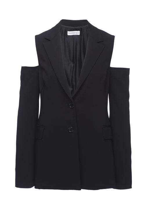 Robert Rodriguez Studio Cold Shoulder Blazer. Structured Body, Notched Lapel, 100% Cotton. 1701J10